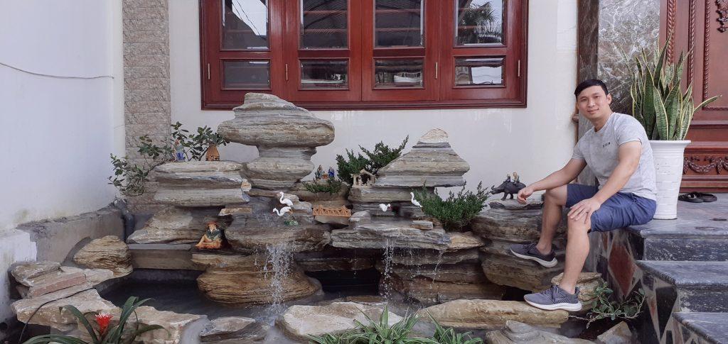 Tiểu cảnh thác nước cho hồ Koi- chất liệu đá cổ thạch